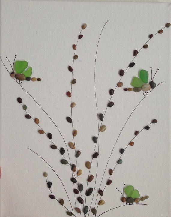 Kies und meer glas kunst kunst kiesel steine strand - Collage auf leinwand basteln ...