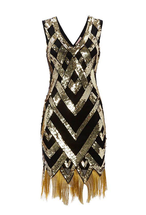 UK16 US12 Black Gold Vintage inspired 1920s vibe Flapper Great Gatsby Beaded Charleston Sequin Deco Wedding Party Fringe Dress New HandMade
