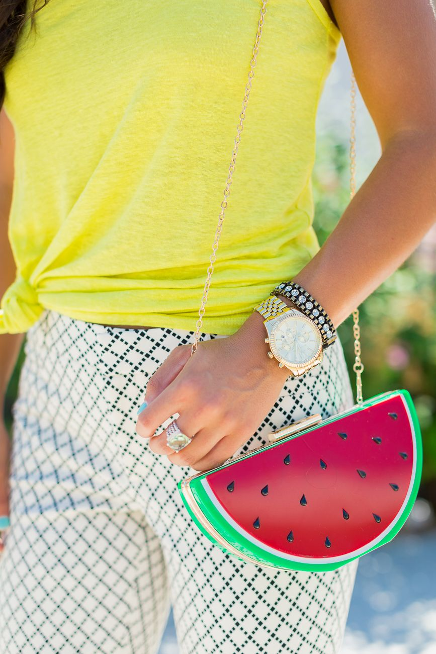 day to night outfit, business casual outfit, work fashion, summer work outfits, watermelon purse, watermelon bag, skinny chinos, side knotted tee // @asoutherndrawl