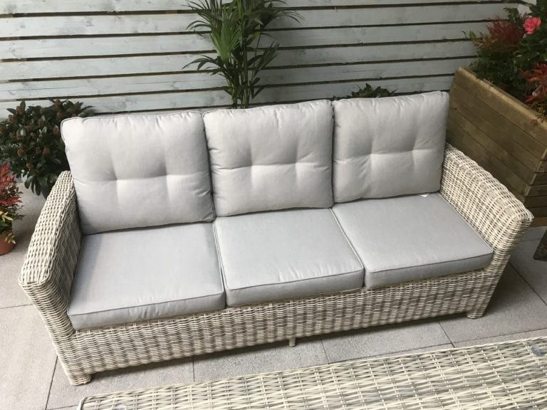 Rattan Grey 3 Seater Sofa Table 2 Chairs 2 Stools Set Amy In 2020 Seater Sofa Dining Sofa Rattan Garden Furniture