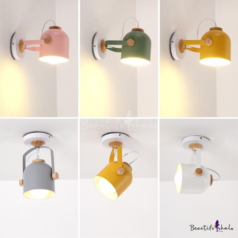 Rotatable Bucket Shade Wall Light Nordic Simple Foyer Metallic 1 Light Wall Mount Fixture In 2020 Wall Lights Wall Mounted Lamps Wall Lights Bedroom
