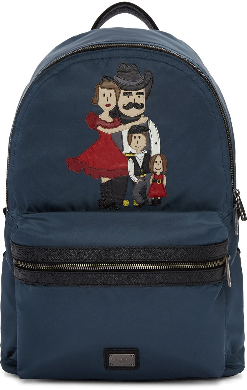 DOLCE   GABBANA Blue Cowboy Family Backpack.  dolcegabbana  bags  leather   nylon  backpacks   4743d1ae5646a