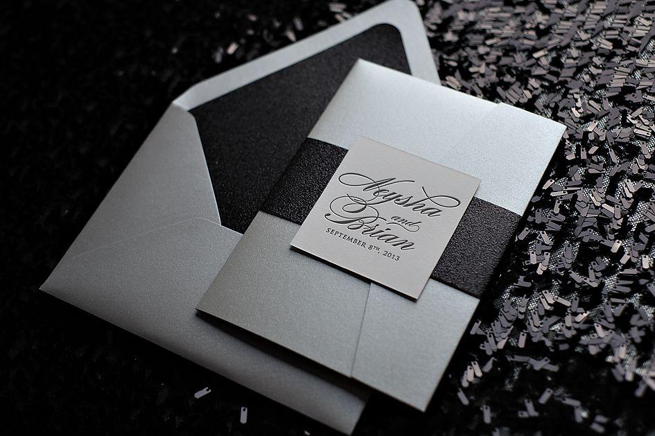 Letterpress Wedding Invitation In Pocket Folder Black And White Glitter Silver