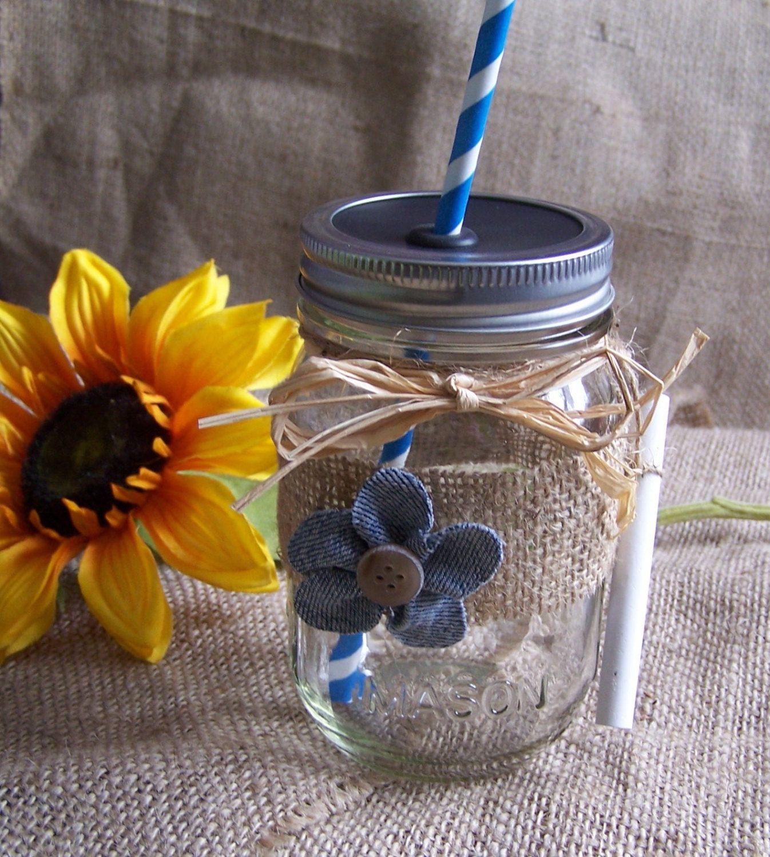 Mason Jar Party Decorations: 6 Denim Flower Burlap Mason Jar Chalk Cups Wedding Or