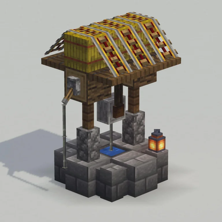Round Base And Sloped Roof On A 3x3 Well Detailcraft Minecraft Roof Minecraft Projects Minecraft Designs
