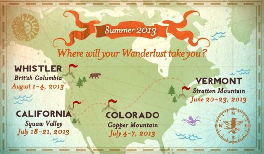 Vermont, Colorado, California , and Canada. Food, wine tasting, music and outdoor activities.