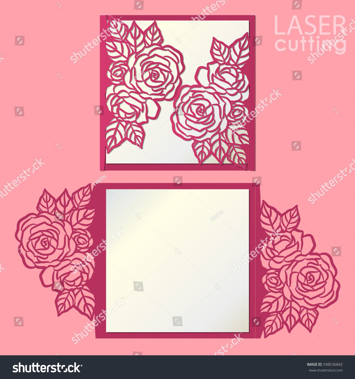 Vector die laser cut envelope template with rose flower wedding vector die laser cut envelope template with rose flower wedding lace invitation mockup cutout paper gate fold card for laser cutting or die cutting mightylinksfo
