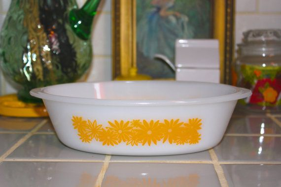 Vintage RETRO Yellow Flower Over Ware Dish by PeppermintandCocoa, $8.00