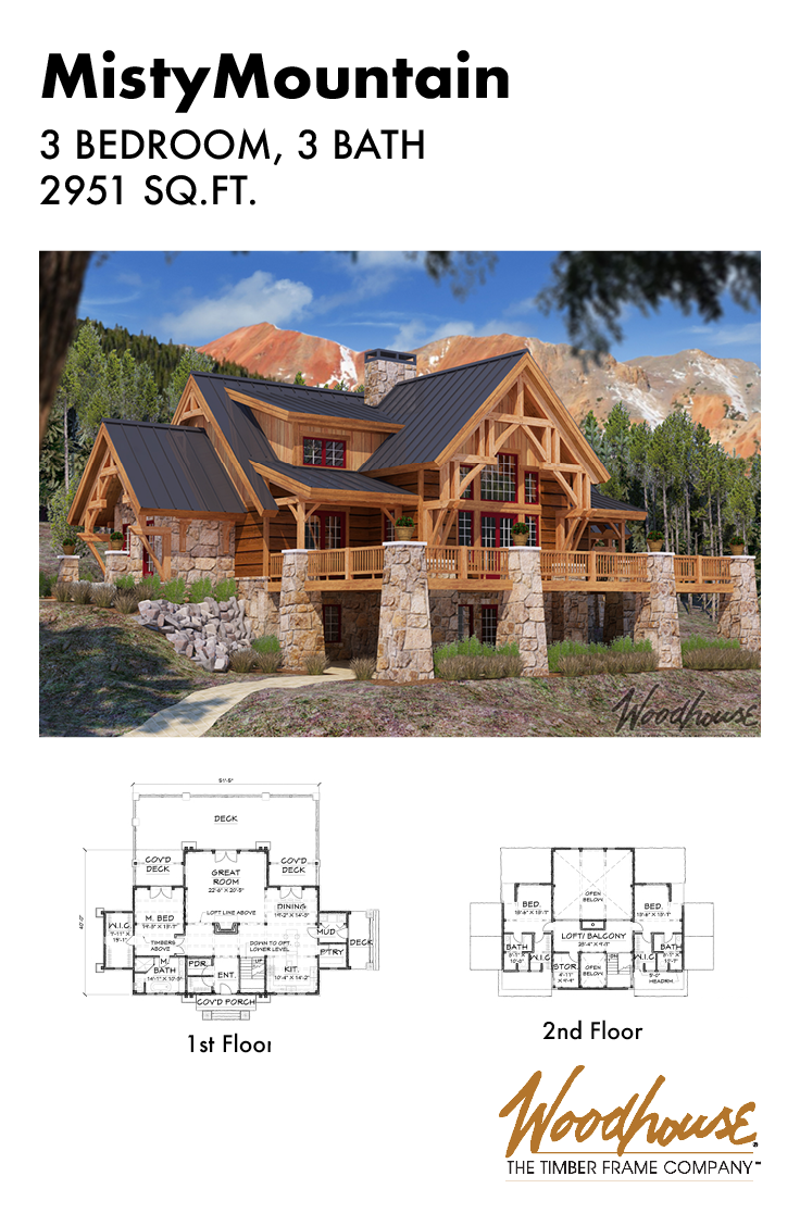 With 3 Bedrooms And 3 Bathrooms This Stunning Home Would Stand Its Ground At The Base Of A Mou Log Cabin Floor Plans Log Home Floor Plans Mountain House Plans
