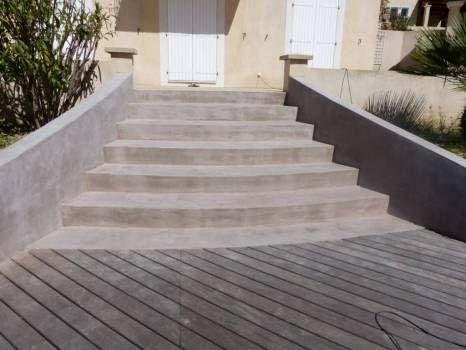 Réalisation d\u0027un revêtement béton ciré sur un escalier extérieur - Realisation D Une Terrasse En Beton