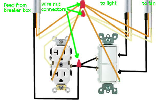 Electrical How Can I Rewire My Bathroom Fan Light And Receptacle Home Improvement Stack Exchange In 2020 Light Switch Wiring Bathroom Fan Light Bathroom Fan