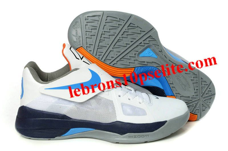 bff36b28477b Kevin Durant Shoes - Nike Zoom KD 4(IV) White Black Blue