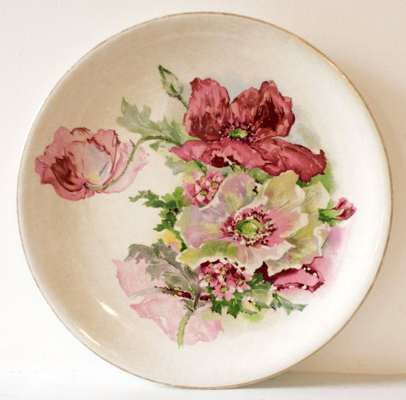 Antique Vintage Poppies Transferware Semi Porcelain Plate C.P. Co. City Pottery Company Trenton NJ : antique plates nj - pezcame.com