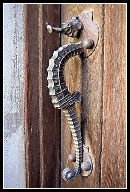 Need to check out castle:   Fabulous Seahorse Door Handle:  This is truly a work of art, isn't it?  I think it's perfect! The backplate looks like a scallop shell. Found on a Castle door in Death Valley!  Would love to see in Person on Day!!!!