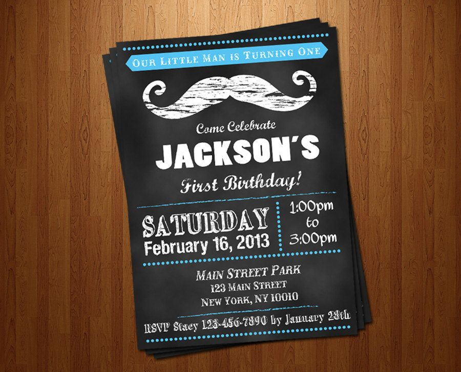 1st Birthday Mustache Chalkboard Baby Boy Little Man Printable Invitation moustache- colors
