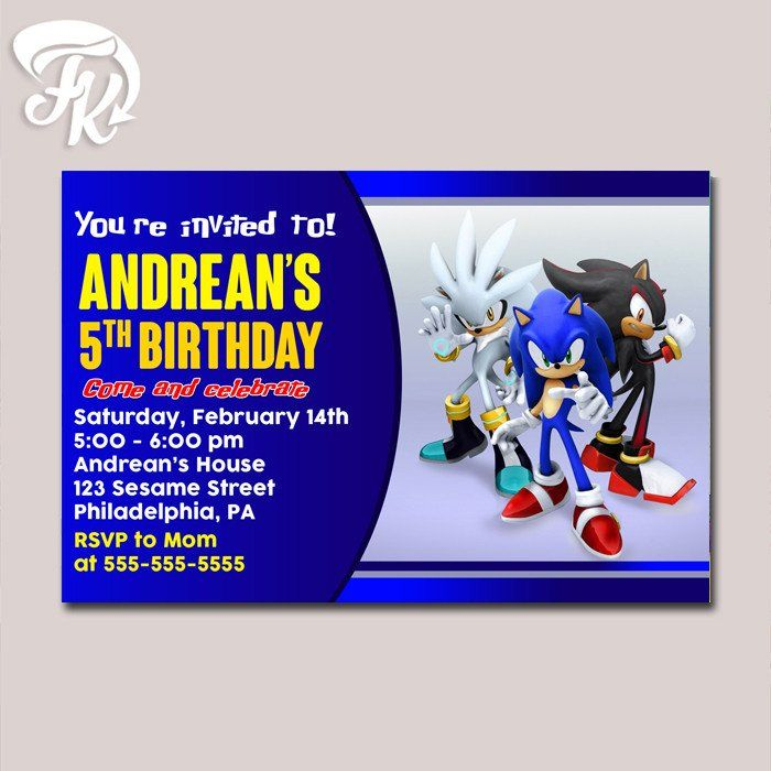 Sonic The Hedgehog Birthday Party Card Digital Invitation Kid