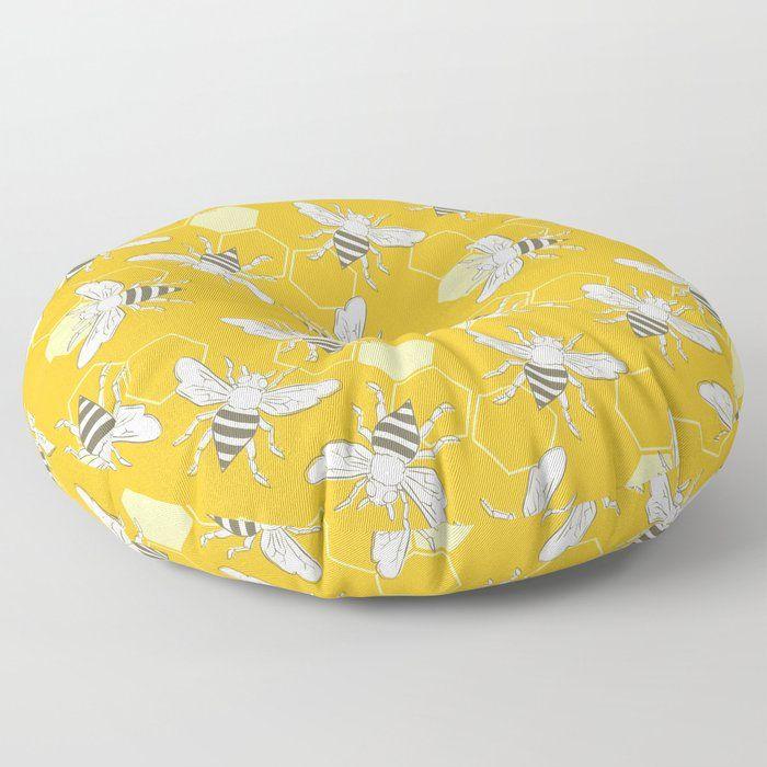 "Honey Bees Floor Pillow by Digital Dove - ROUND - 30"" x 30"""