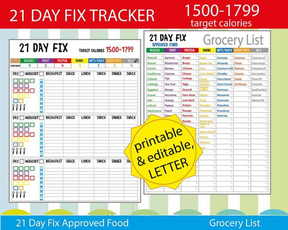 21 Day Fitness 1500 Calories Tracker Shopping List And More Easy To