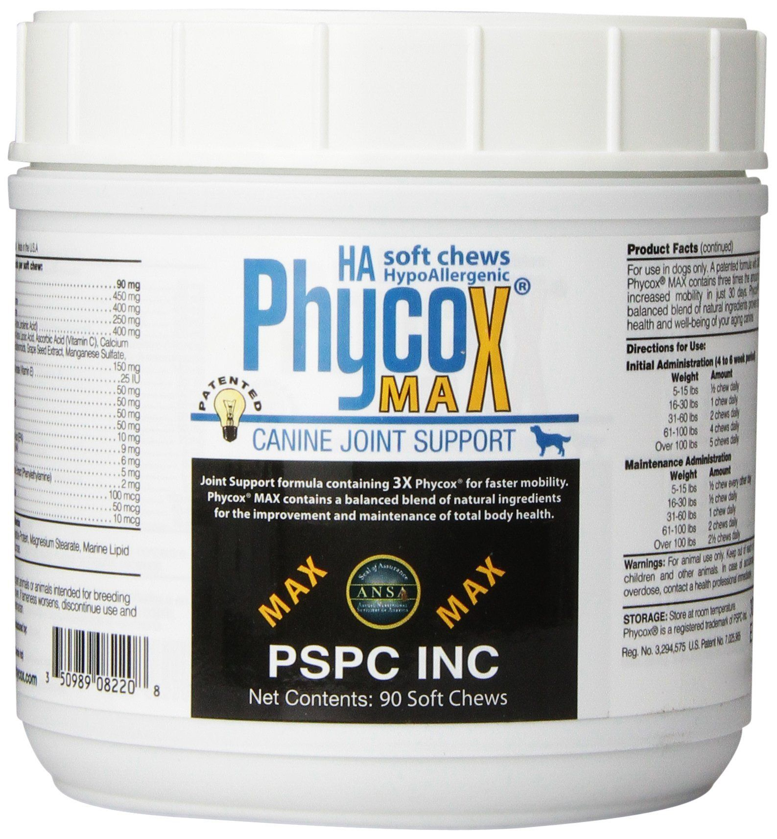 PSPC Phycox Max HA 90 Count Canine Soft Chews