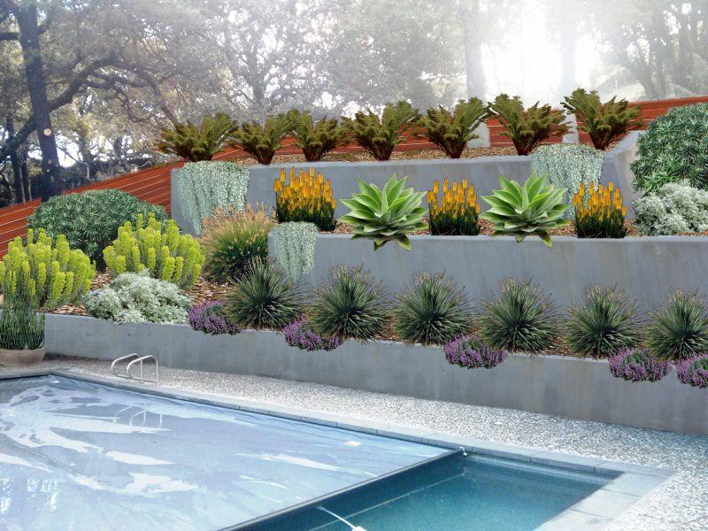Conceptual Image Xeriscape Modern Landscape Contemporary Designs Hillside Landscape Concrete Walls Hillside Landscaping Modern Landscaping Garden Services