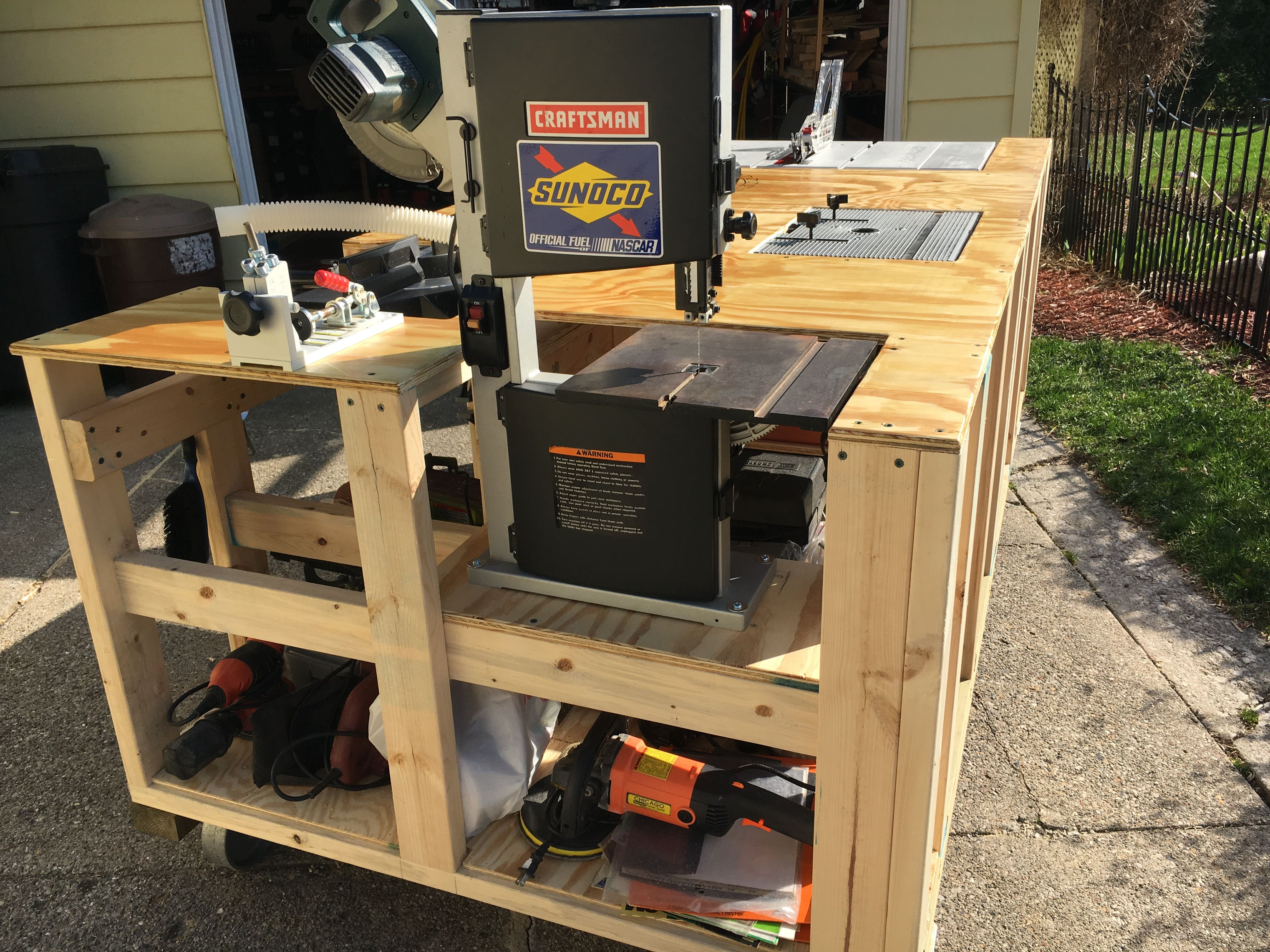 Mega Ultimate Workbench I Wanted To Save Space In My Garage By Making 1 Bench To Replace 6 Separate Tables T Workbench Best Woodworking Tools Garage Remodel