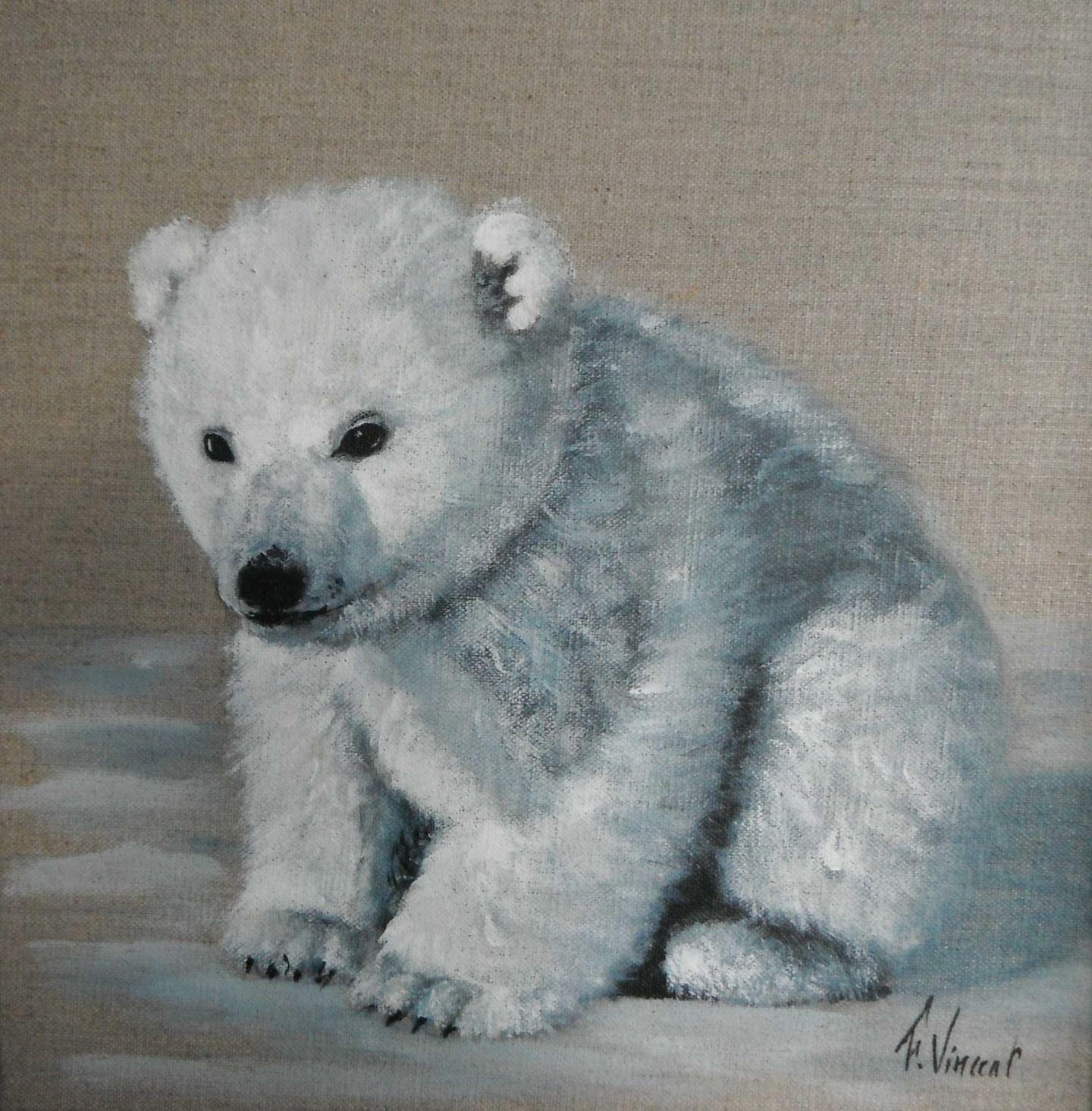 tableau acrylique sur lin d 39 un petit ours blanc peintures par galeriefaby peinture sur lin. Black Bedroom Furniture Sets. Home Design Ideas