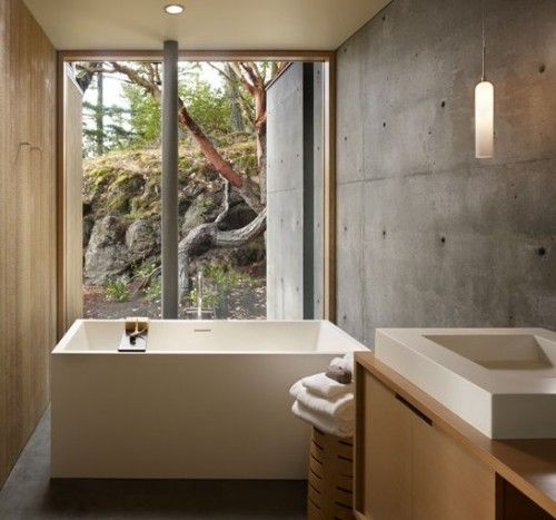 Wood concrete raw exposed bathroom interior combination11 500x467 on Archinspire.Org
