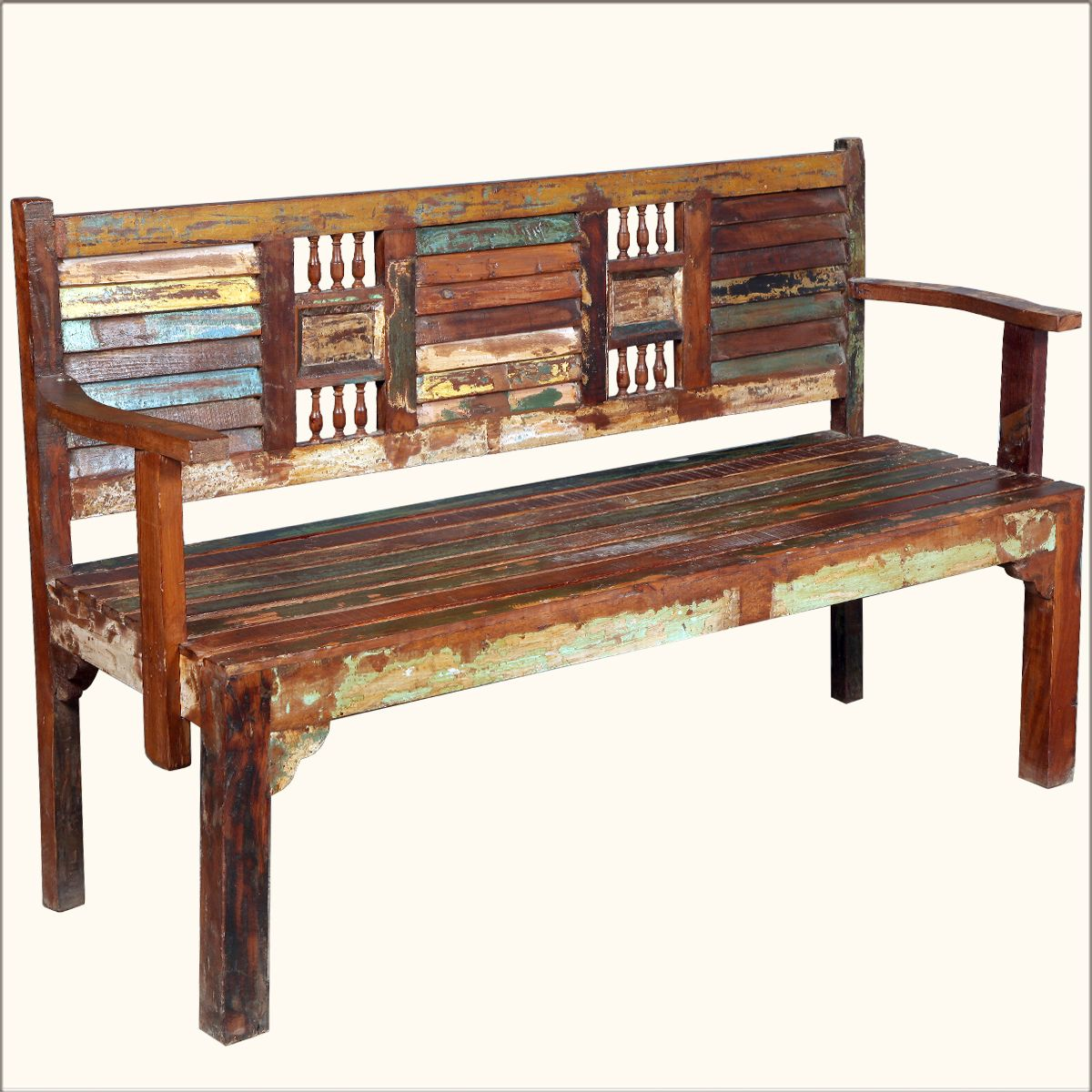 Cool 62 Reclaimed Wood Rustic Hand Carved Arms Bench Indoor Evergreenethics Interior Chair Design Evergreenethicsorg