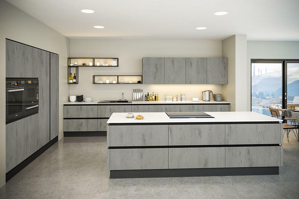 Modern Kitchen Cupboards, Cement Grey Kitchen Cabinets