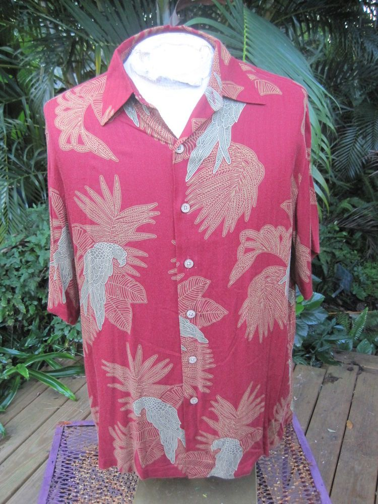 HAWAIIAN Aloha SHIRT L pit to pit 26 CARIBBEAN rayon tropical birds jungle #Caribbean #Hawaiian
