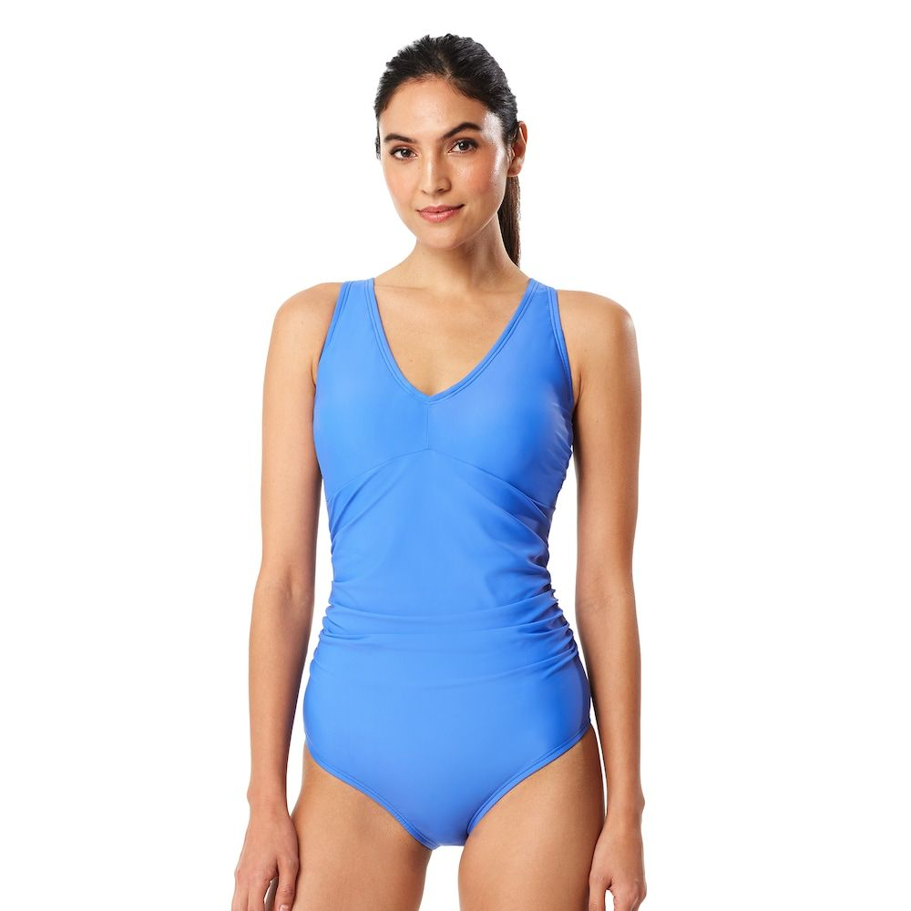 a80ac0242a85d Women's Speedo Tummy Slimming V-Neck One-Piece Swimsuit, Size: 10, Med Blue