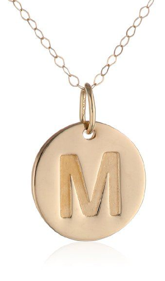 Amazon duragold 14k yellow gold disc initial m pendant amazon duragold 14k yellow gold disc initial m pendant necklace aloadofball Image collections