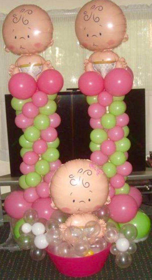 Decoraciones con globos para Baby Shower Babies, Balloon columns