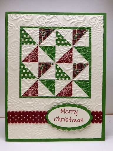 Green and burgundy on white ... quilt block design ... for pinwheel squares in a block ... with embedded embossing ... great design to fit a square block onto a rectangular card .. .  Stampin' Up! by Bonnie Emmons