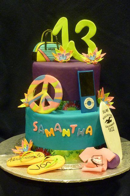 Samanthas 13th Birthday Cake Neon cakes 13th birthday cakes