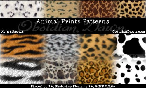 Animal Prints PS Patterns by redheadstock deviantart com on