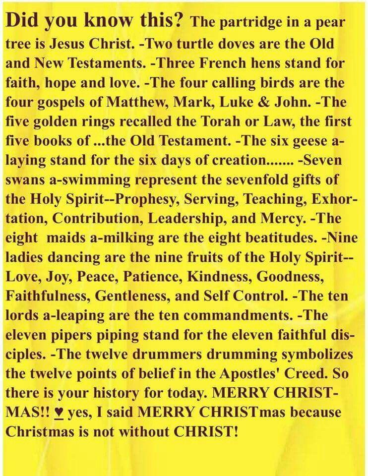 12 Days Of Christmas Symbolism Jesus Pinterest Bible