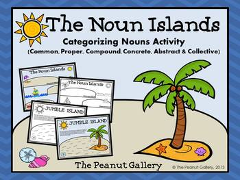 """Add some """"island flair"""" to categorizing nouns with the Noun Islands! This activity includes common, proper, concrete, abstract, compound, and collective nouns. This activity works well individually, in partners, in literacy centers, etc. ($)"""