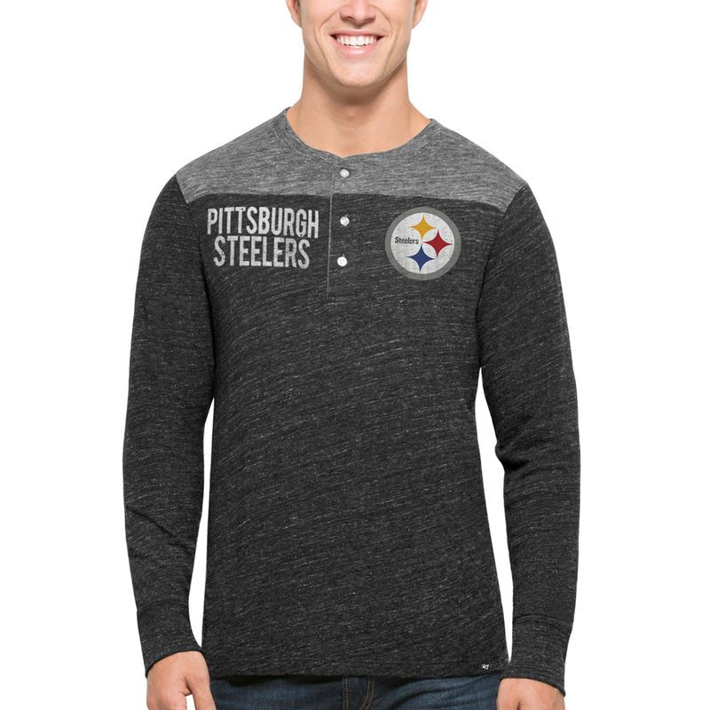 Pittsburgh Steelers  47 Neps Henley Tri-Blend Long Sleeve T-Shirt - Black 6804a1048