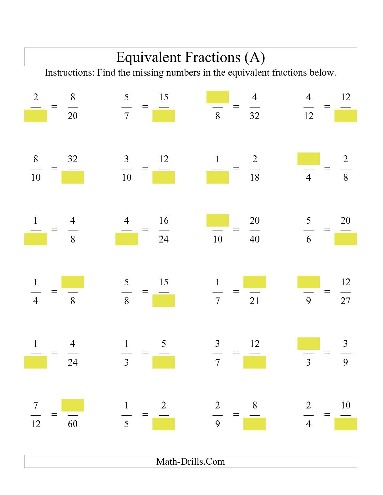 The Missing Numbers in Equivalent Fractions (A) math worksheet from the Fractions  Worksheet page at M…   Fractions worksheets [ 1584 x 1224 Pixel ]