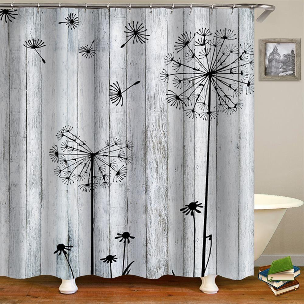 Vintage Dandelion Shower Curtain 1 Pc Shower Curtain Polyester