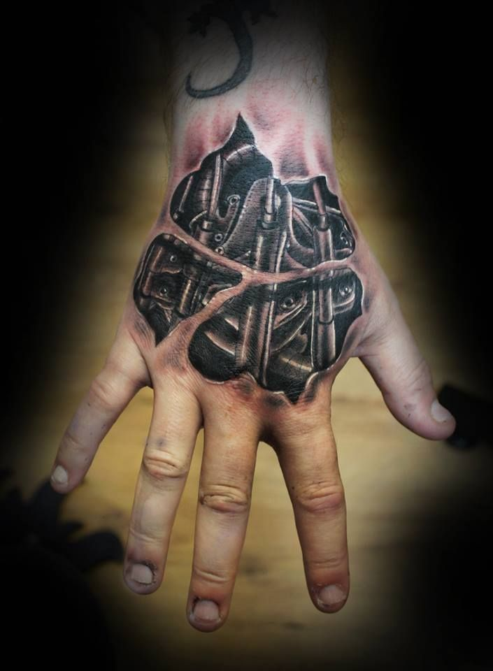 Most Stunning Hand Tattoos Biomechanical Tattoo Tattoo Designs 3d Tattoos