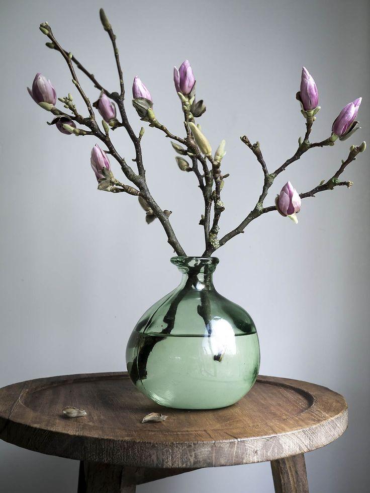 Spring Floral Arrangement Inspiration Magnolien, Vasen und Blumen