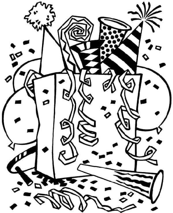 A Whole Sets Of New Years Party Supplies Coloring Page | New ...