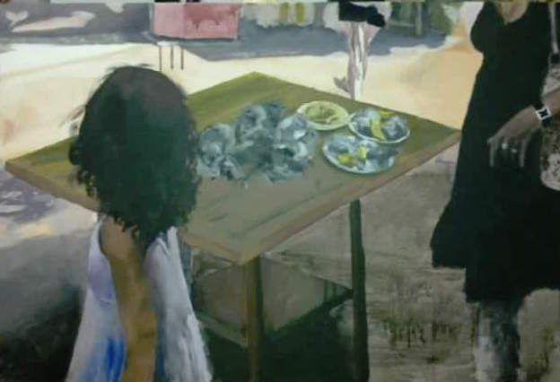 La niña de las ostras Cádiz, acrílico sobre lienzo, by MODE