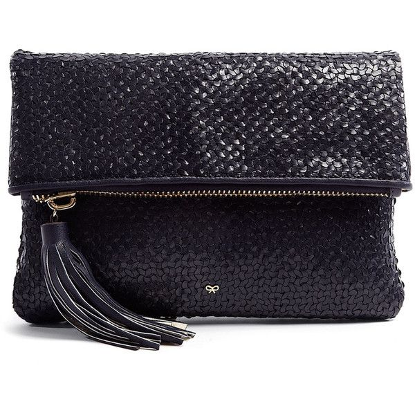 Anya Hindmarch Midnight Blue Huxley Woven Leather Clutch found on Polyvore
