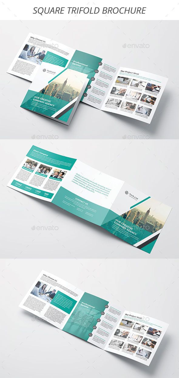Square Trifold Brochure template, Brochures and Graphic design - business profile template