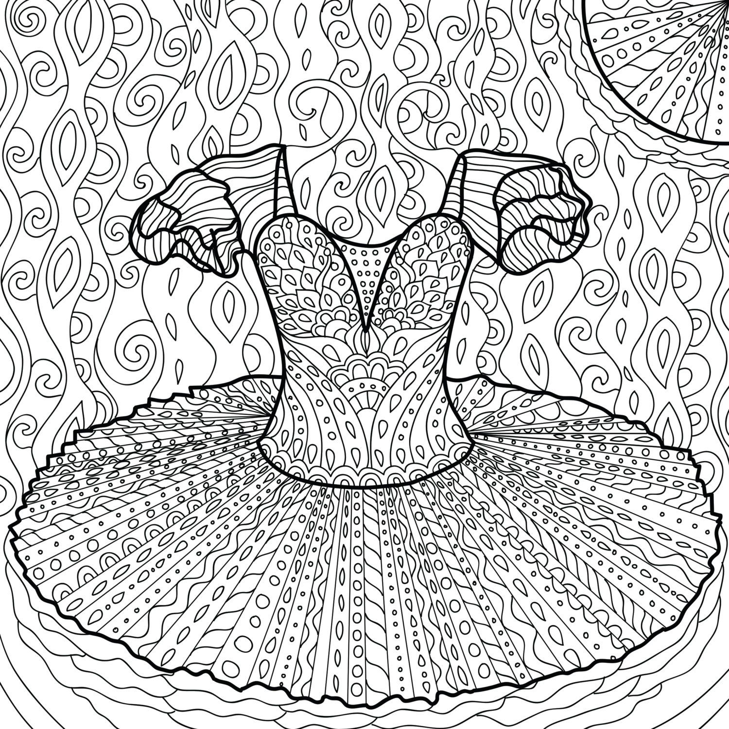 Printable Coloring Page Zentangle Dance Coloring Book Etsy Dance Coloring Pages Coloring Books Printable Coloring Pages
