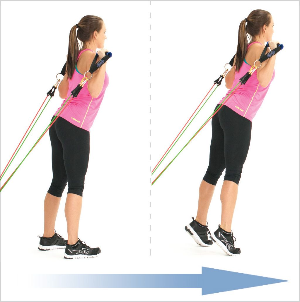Resistance Bands Thigh Workout: Standing Calf Raise Arms Up With Clip Resistance Bands