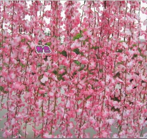 Artificial Pink Cherry Blossom Flower Vine Plant Home Decorative Silk Flowers For Wedding Birthday Silk Flowers Wedding Flowering Vines Cherry Blossom Flowers
